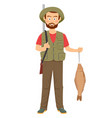 happy hunter with shotgun and fish in hand vector image vector image