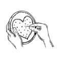 heart fancywork engraving vector image vector image