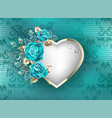 heart with roses on lace background vector image