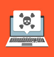 laptop and skull icon on screen in pop-up bubble vector image