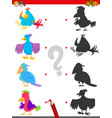 match shadows activity with bird characters vector image vector image