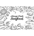 menu restaurant seafood hand drawn collection of vector image vector image