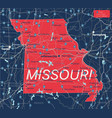 missouri state detailed editable map vector image vector image