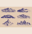 mountains peaks and climbing hill hand drawn vector image vector image