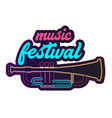 neon music festival trumpet background imag vector image vector image