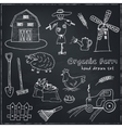 Organic farm hand drawn decorative icons set vector image vector image