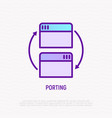 porting in programming thin line icon adaption vector image