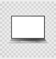 realistic laptop mock up on transparent vector image vector image