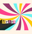 retro background with colorful rays twisted star vector image
