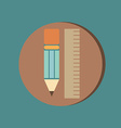 ruler and pencil characters geometry Education vector image