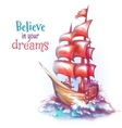 sail ship with sea vector image vector image