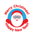 Santa peeping from behind the logo vector image vector image