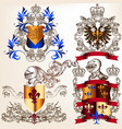 set heraldic shields in vintage style vector image vector image