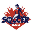 soccer player shooting badge vector image vector image