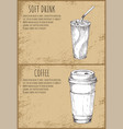 soft drink and coffee cup monochrome sketches vector image