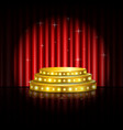 spotlight golden of empty stage with red curtain vector image vector image