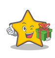 star character cartoon style with gift vector image vector image