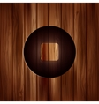 Stop icon Media player button Wooden texture vector image