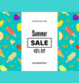 summer sale banner poster with fruits and ice vector image vector image