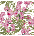 with exotic pink orchid flowers and palm leaves vector image vector image
