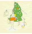 woman with christmas shopping bag vector image