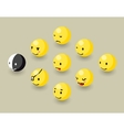 Isometric happy face bubbles game elements vector image