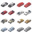 Isometric SUVs pickup trucks and service vector image