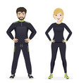man and woman playing sport with black sportswear vector image