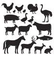 farm animals silhouette icons vector image
