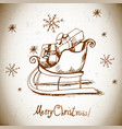 Vintage greeting card with Christmas sleigh vector image