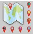 Icon of map and set of different pointers vector image