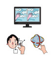 a virtual reality cartoon icons in set collection vector image