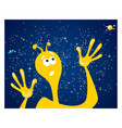 alien against starry sky vector image