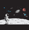 astronaut looks to universe from planet vector image vector image