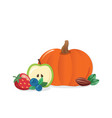 autumn harvest cartoon icon pumpkin fruits and vector image