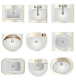 Bathroom wash basin set 9 top view for interior vector image vector image