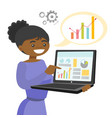 black woman showing report on the laptop vector image vector image
