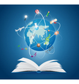 Books with world of science vector image vector image
