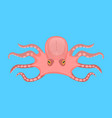 cartoon cute octopus character on a blue vector image vector image