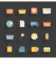 Cartoon icons set for online store vector image