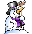 cartoon of a happy snowman vector image vector image