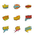 clouds with comic speech bubbles icons set vector image vector image