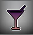 cocktail sign violet vector image vector image