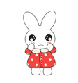 Cute cartoon bunny girl in a pretty pink dress vector image