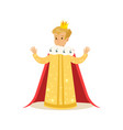 cute little blonde boy wearing a king costume vector image vector image