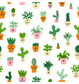 cute little prickly cactuses cartoon pattern vector image vector image