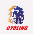cycling race stylized symbol outlined cyclist vector image