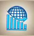 declining graph with earth sky blue icon vector image vector image