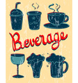 Different kind of beverage in vintage design vector image