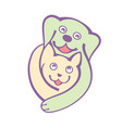 dog and cat hug togheter with love logo on white vector image vector image
